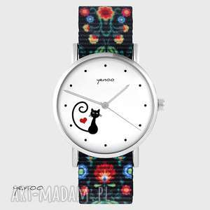 yenoo zegarek - kotek, serce folk czarny, nato, zegarek, pasek, folkowy, nato