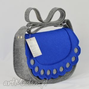 torebka listonoszka z niebieską falbanką i kółkami - wyprzedaż, filc, folk