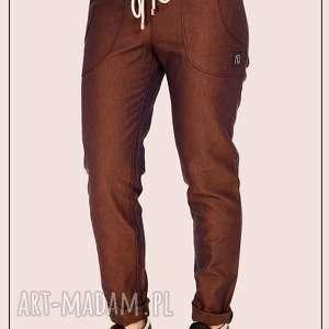 Granatowo rude spodnie ze ściągaczem , rude, miedziane, jeansy, proste, dwutonowe