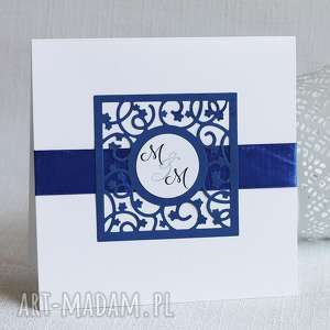 zaproszenia zaproszenie ślubne z chabrowym ozdobnikiem, ślub, zaproszenie, eleganckie