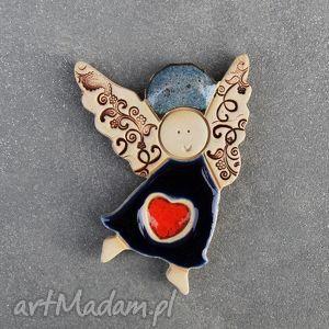świąteczny prezent, walentynkowy aniołek , magnesy, ceramiczny, aniołek, walentynki