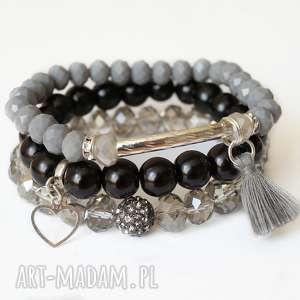 Set grey, tassel & real silver heart - ,zestaw,chwost,zawieszka,serce,serduszko,