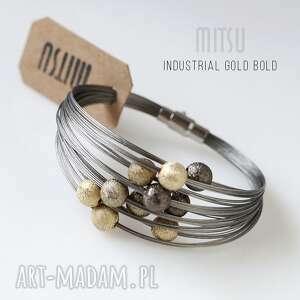 bransoleta industrial gold bold , industrial, nowoczesna, elegancka, brązy, beże