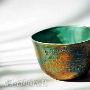 ceramicznosci miseczka kora drzewa turkusowo-niebieska, misa śniadaniowa