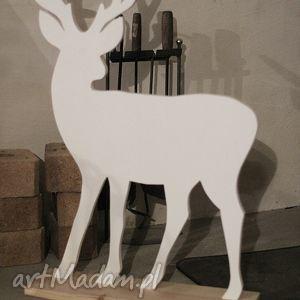 prezent na święta, renifer 76cm, renifer, drewniany, biały, dzieci, dekoracja