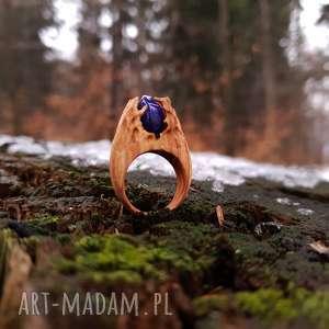 drewniany pierścień lączony z żywicą druids ring, etniczny, boho, natura