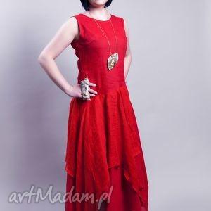 lniana czerwona sukienka - lniana, sukienka, czerwona, len