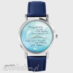 zegarek, bransoletka - przyjaciele - granatowy, skórzany - zegarek, skórzany