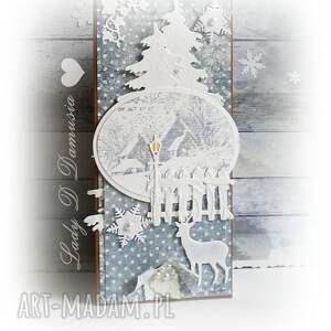 kartka zimowa z efektem 3d w zestawie bilecik do prezentu - kartka, zima, śnieg