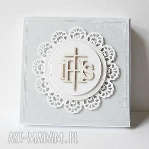 ręczne wykonanie scrapbooking kartki pudełko z życzeniami - komunia