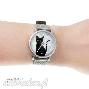 Prezent Zegarek, bransoletka - Czarny kot szary mały, zegarek,
