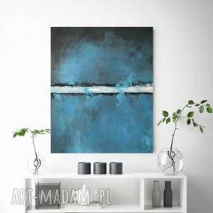 niebieska abstrakcja - obraz akrylowy formatu 50/60cm, abstrakcja, akryl