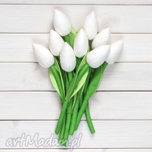 tulipany kremowy bawełniany bukiet - tulipany, bukiet, kwiaty, dekoracja, prezent