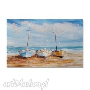 aleksandrab rybackie łodzie, pejzaż morski, nowoczesny obraz ręcznie malowany