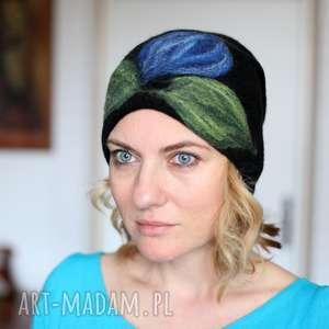 handmade czapki czapka wełniana damska czarna