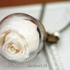 Naszyjnik * Wieczna Róża - Miłość*, róża, kwiat, biała, szkło, kula, natura