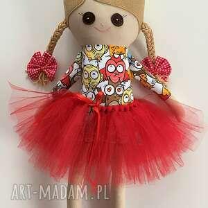 lalka szmacianka czerwone sowy, szmacianka, szyta, szmaciana, lalka, pamiątka