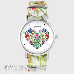 hand-made zegarki zegarek - serce folkowe kwiaty, nato, biały