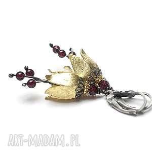 Leśne dzwonki - burgund vol. 2 , srebro, pozłacane, granaty, dzwonki, kwiaty