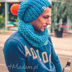 energy shot happy - jesień, zima, czapka, handmade, włóczka, męska