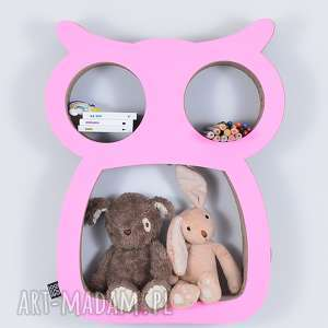 Półka na książki zabawki sowa ecoono różowy pokoik dziecka