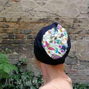 ręcznie robione czapki czapka granatowa na podszewce dzianina