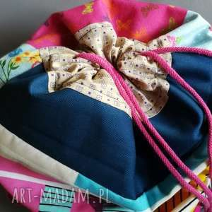 duży plecak worek dwukolorowy prawo-lewo, plecak, wakacje, rower, podróz, etno, boho