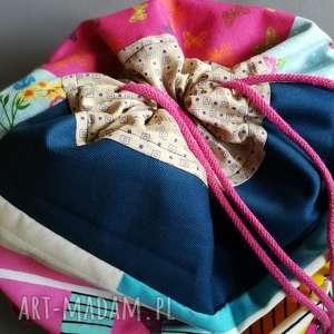 Ruda Klara. duży plecak worek dwukolorowy prawo-lewo