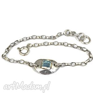 Bransoletka z akwamarynem, bransoletka, akwamaryn, delikatna, minimalistyczna, srebro