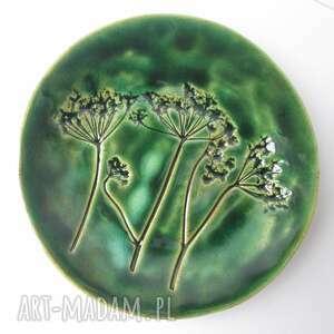 roślinny zielony talerzyk, mały roślinna ceramika, mydelniczka