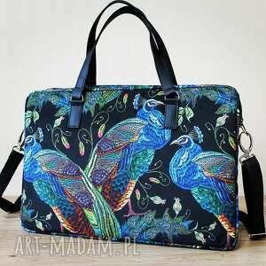 pod choinkę prezent, torba na laptop - pawie, elegancka, nowoczesna