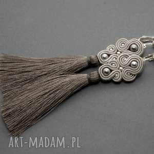 szare kolczyki sutasz, sznurek, eleganckie, wiszące, wieczorowe, długie, chwost