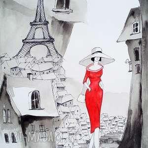 paryż akwarela artystki plastyka adriany laube, akwarela, paryż, eiffla, kapelusz
