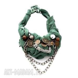MILITARY naszyjnik handmade, naszyjnik, kolia, military, militarny, khaki, łańcuchy