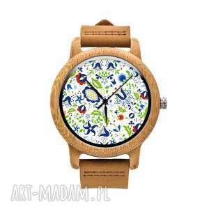 drewniany zegarek na pasku kaszubskie kwiaty, kaszuby, folk, folklor, etniczne