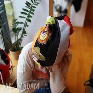 czapka smerfetka dzianina patchwork frida kahlo, czapka, frida, ciepła