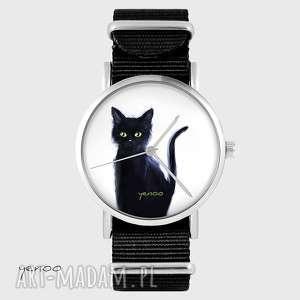 Prezent Zegarek, bransoletka - Czarny kot, biały czarny, nato, zegarek,