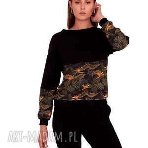 bluza czarna z wzorem, bluza, sukienka, bluzawzór, bluzka, spódnica, sport