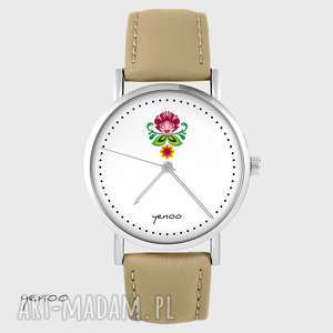 zegarek - folkowy kwiat skórzany, beżowy, zegarek, bransoletka, unikatowy