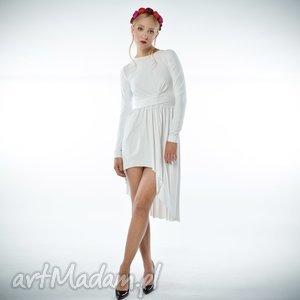 cristina patria midi white, suknia, ślubna, asymetryczna
