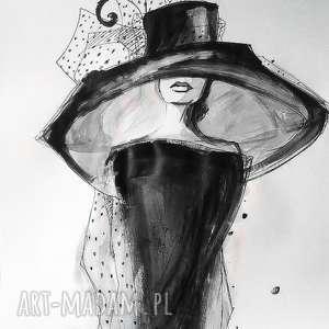 ubrana w elegancję akwarela artystki plastyka adriany laube, vintage, woalka