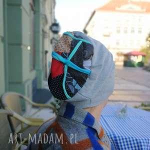 czapka damska szara patchwork sportowa, czapka, etno, boho, patchwork, sportowa