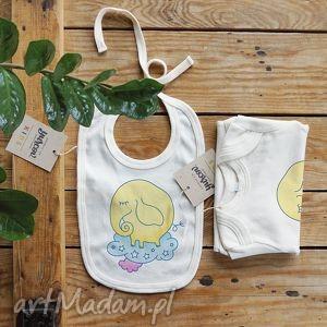 trąbalski żółty body i śliniaczek eko, body, niemowlece