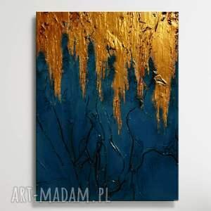 azzurro - modny obraz w kolorze intensywnej ultramaryny przełamany złotym