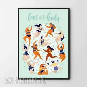 plakat obraz love your body 40x50 cm, obraz, ciało, body, grafika