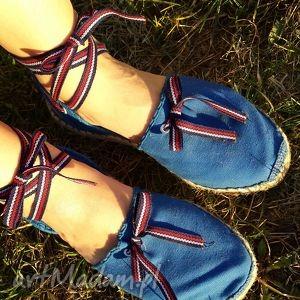 Espadryle damskie marine niebieskie z paseczkami buty saint