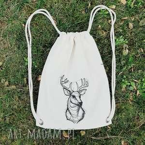 plecak z jeleniem haft - ,las,góry,jeleń,haft,plecak,worek,