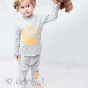 ubranka piżamki szare z żółtym, handmade, bawełna, piżamka, aplikacja, wygoda