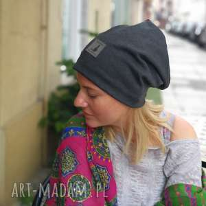 hand-made czapki czapka szara prosta damska boho folk etno
