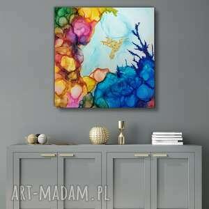koliber w kwadracie obraz ręcznie malowany na płótnie 70x70 cm